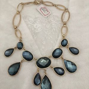 NWT Navy Blue Crystal Necklace